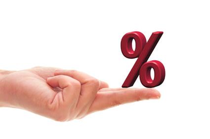 Percentage sign resting on a finger
